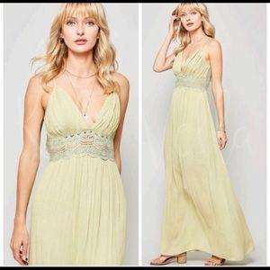 Sage boho lace maxi dress